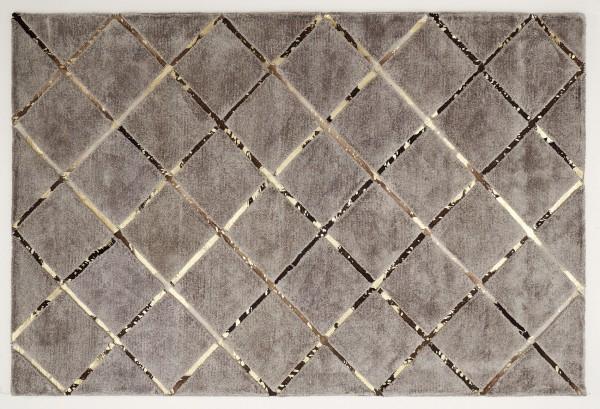 Leder/Viskose-Teppich BOSTON, 170 x 240 cm, braun/gold | Teppich .