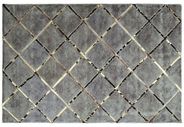 Leder/Viskose-Teppich braun/gold BOST