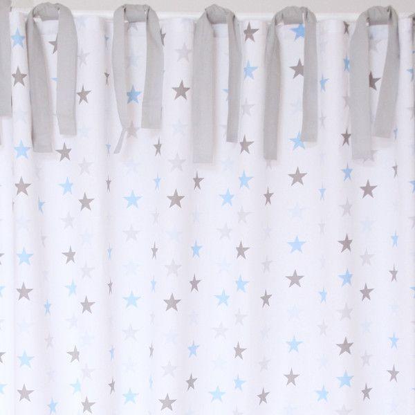 Vorhang Gardinen Sterne grau blau   Baumwollvorhänge, Vorhang .