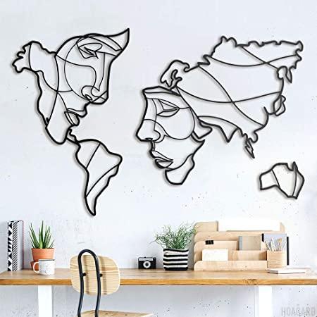 Amazon.de: Faces of World Map Metal Wall Art by Hoagard, 105x68cm .