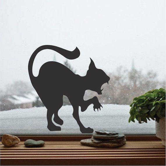 Scary Cat Decal Aufkleber, Halloween Cat Wall Vinyl Aufkleber .