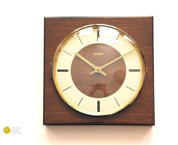 Mid Century HERMLE Wall Clock - 60s Modern Art Deco Danish Wood .