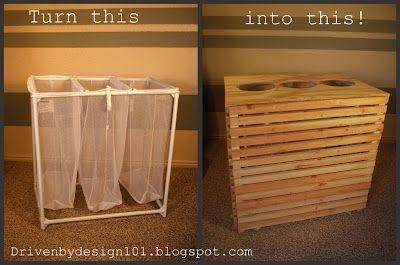 Wäschesortierer umgewandelt in einen Wiederverwertungsbehälter .