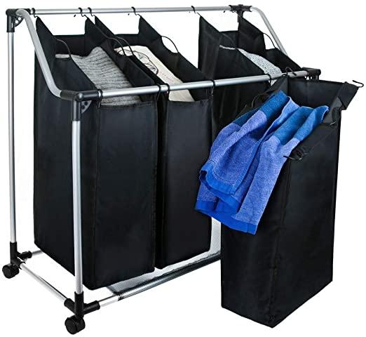 Grafner® Wäschesortierer | 4 Fächer | mit Rollen | schwarz .