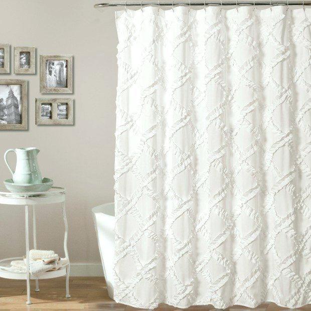 Weißer Bauernhaus Duschvorhang   Ivory curtains, Curtains, Curtain .