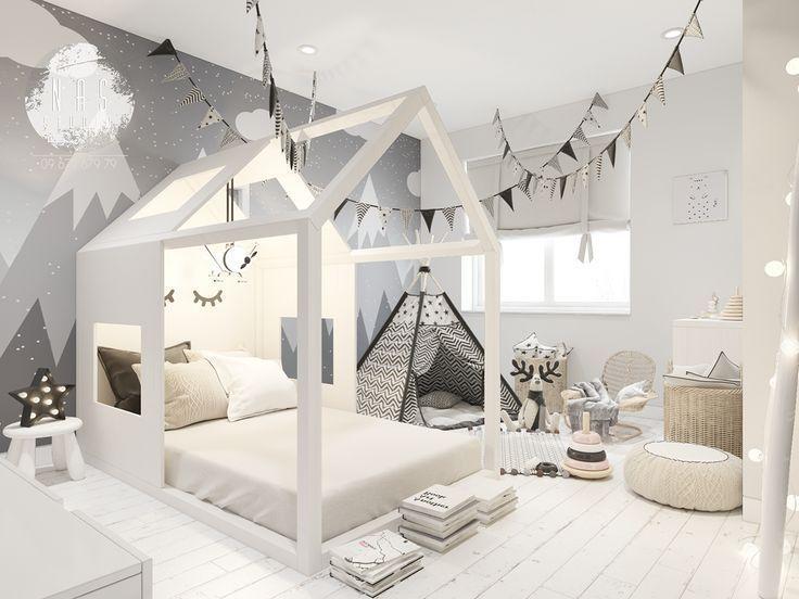 Schlafzimmer eingestellt mit Design des weißen Hauses .
