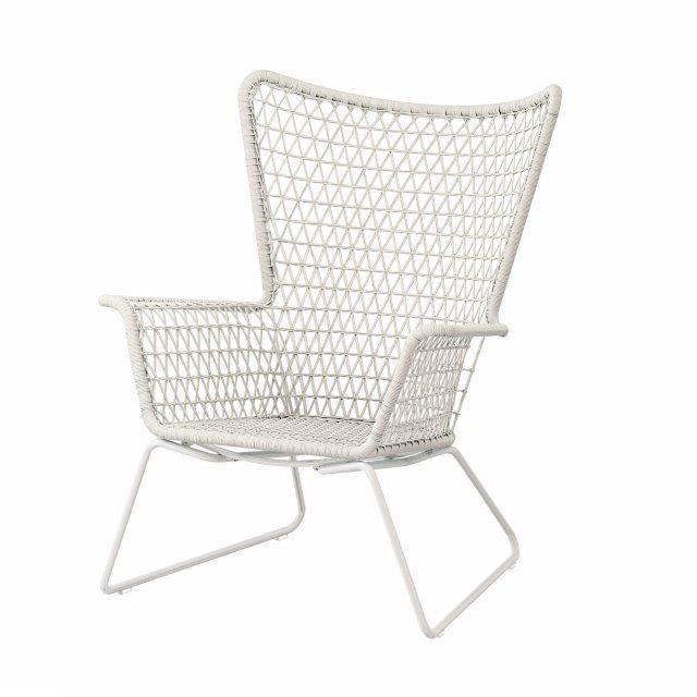 Outdoor-Sessel aus Kunstrattan, Ikea Living, Weiß, Outdoor, Balkon .