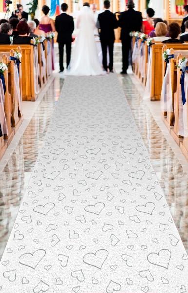 Herzläufer weißer Teppich 4,5m x 60cm   Party.