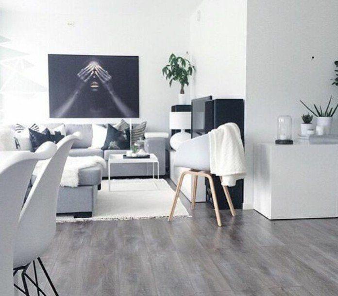 Laminatboden in grauer Farbe weißer Teppich Ecksofa in grauer .