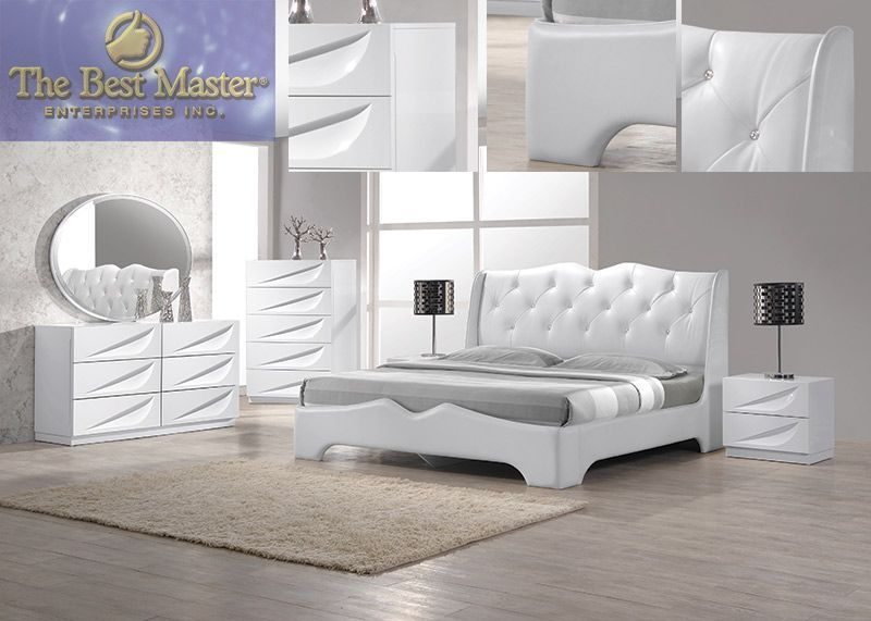 modern pieces madrid white lacquer king bedroom set furniture sets .