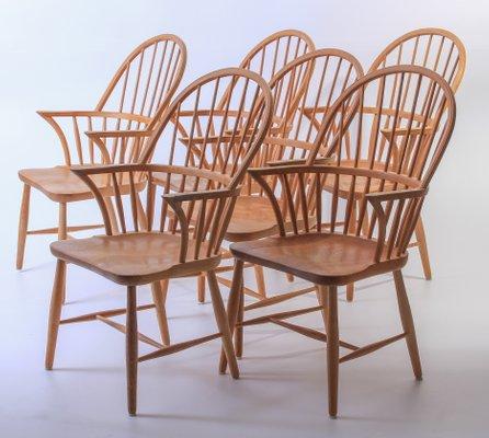 Oak High Back Windsor Chair by Frits Henningsen for Carl Hansen .