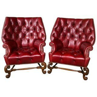 Oversized Tufted Leather Wingback Chairs - Pair   Leather wingback .