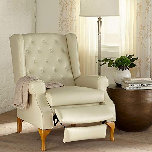 BrylaneHome Queen Anne Style Tufted Wingback Recliner   Furniture .