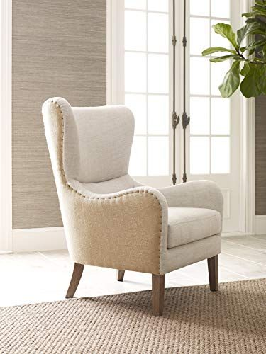 Elle Decor Mid-Century Modern Wingback Chair in French Two-Toned .