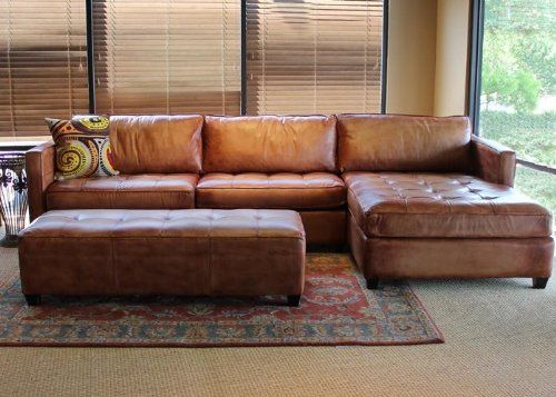 Phoenix 100% Full Aniline Leather Sectional Sofa with Chaise .