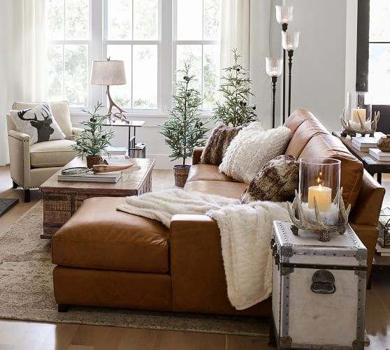 Turner Square Arm Leather Sofa With Chaise Sectional | Wohnen .