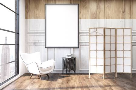Wohnzimmer-Interieur Mit Holzwänden, New York City Ansicht, Weiße .