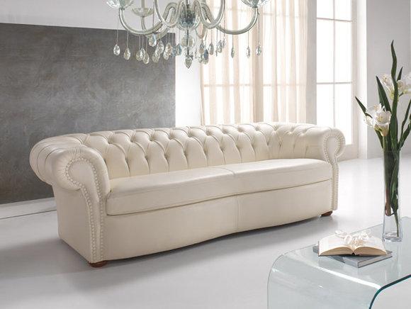 CHESTERFIELD Design Sofa 3-Sitzer Weiß Leder Polster Couch .