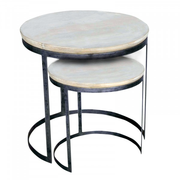 Couchtisch 2er Set Wohnzimmer-Tisch-Set rund Austin, Metall .