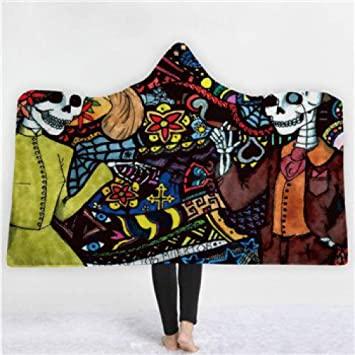 Grea Print Hooded Blanket Keep Warm Floral Gothic Fleece Wearable .