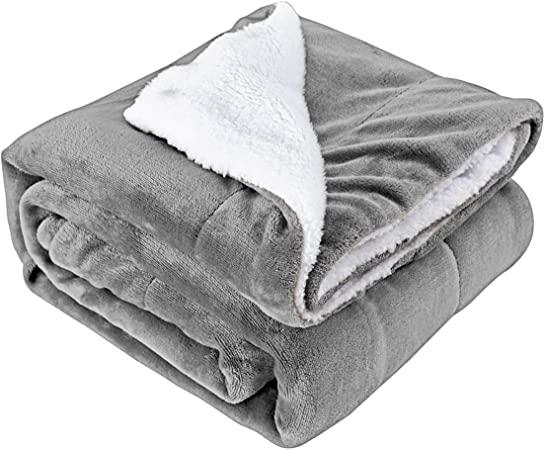 HenLooo Sherpa-Wurfdecke, Fleece-Bett wirft warme Reversible .
