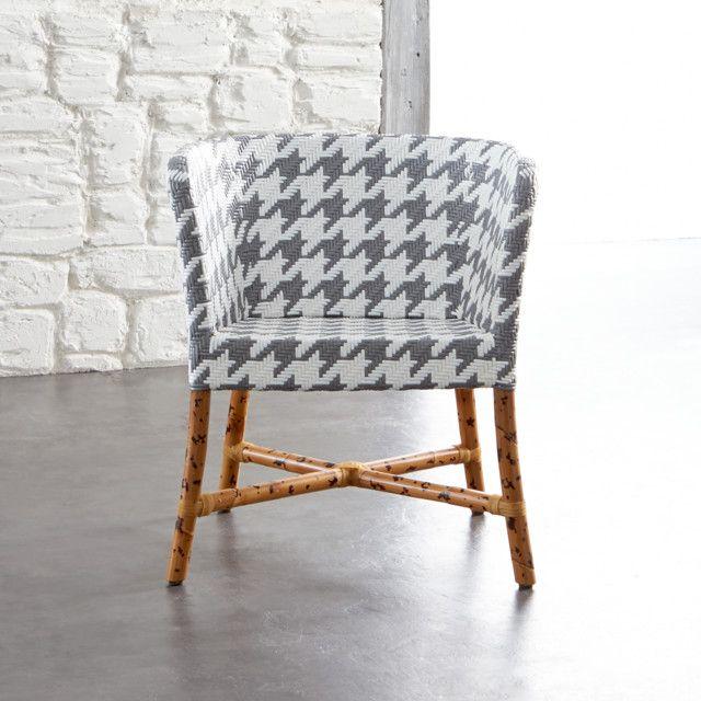 Grey And White Accent Chair | Gewebter stuhl, Sessel und Stüh