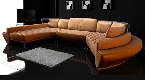 Rundsofa Leder Wohnlandschaft halb rund Sofa Couch U-Form .