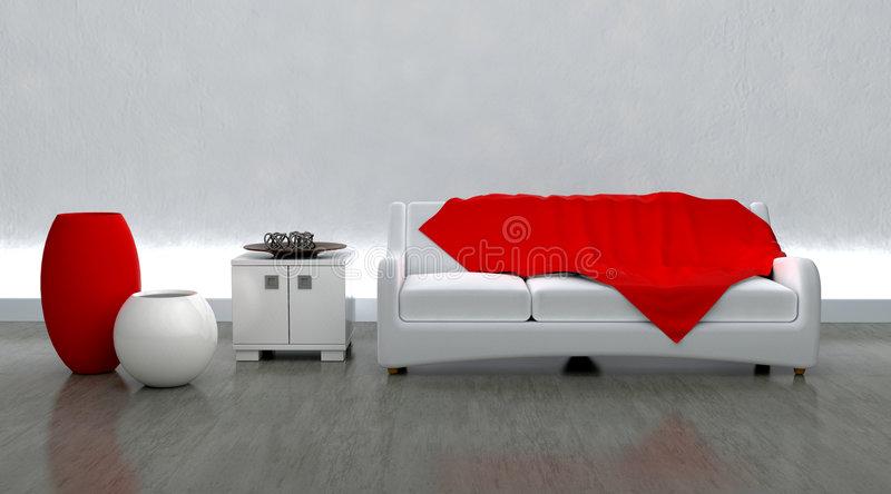 Zeitgenössisches Sofa Moderen Innen Einstellung Stock Abbildung .