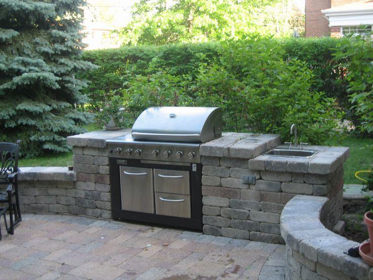 Awesome Outdoor Küchen Hinterhof Patio Design mit großen Ziegel .